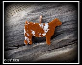 Glass Shorthorn Show Heifer Pendant, Cattle Jewelry Approx 2""