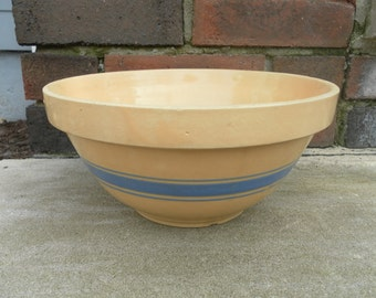 Vintage Yellow Ware Bowl with Turquoise Stripe