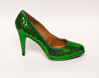 Sequin | Kelly Green Stiletto Heels Dress Shoes