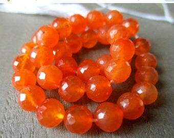 SALE Carnelian faceted round bead- 6mm- 5 inch