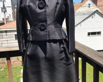 Vintage William Y Gilmore and Sons black dupioni silk dress suit