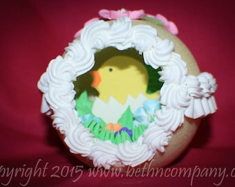 Easter, Panoramic Sugar Easter Egg, Easter Sugar Eggs, Sugar Eggs, Handmade Sugar Eggs