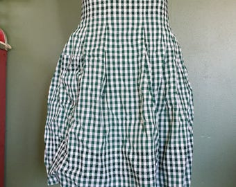Vintage Green Gingham Check Half Apron with Black Stitched Accents - Retro Hostess