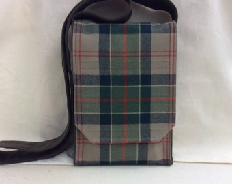 Green and Taupe Plaid Wool Small Messenger Bag