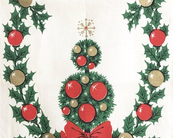 Vintage Towel Christmas Topiary Shiny Brite Ornaments Table Runner