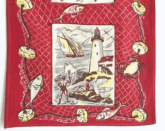 Vintage Tea Towel Nautical Theme Sailboat Lighthouse Fish Fishnet Sailor