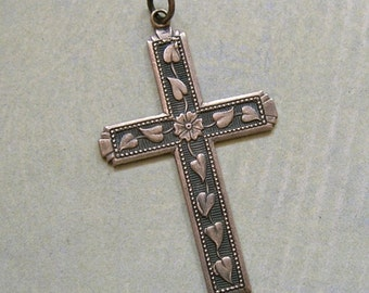 Vintage Sterling Silver Cross, Sterling Cross, Old Religious Cross Necklace,  Cross with Flower & Leaves (#3094)