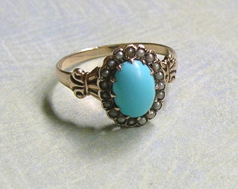 Antique Victorian 14K Rose Gold Turquoise and Seed Pearl Ring, Old Victorian Ring With Seed Pearls and Turquoise, Antique Ring (#3110)