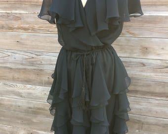 1980's black chiffon ruffle disco dress SMALL