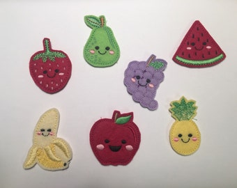 Banana Pear Pineapple Apple Watermelon Strawberry Grapes You Choose Happy Fruit Embroidered Felt Applique