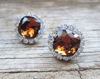 Swarovski Crystal Smoked Topaz 12 mm Cushion Cut Stud Earrings