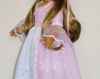 Princess style Pink eyelet Colonial dress, 2 pc. fits American Girl 18 in. dolls. Created for Elizabeth or Felicity  No.694