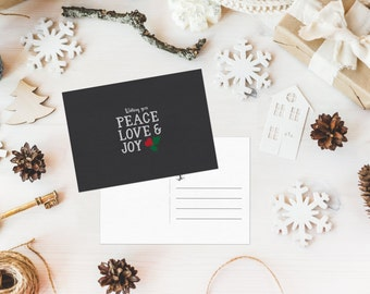 Peace Love & Joy Holiday Postcard - 5x7 Digital Download