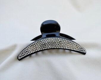 Black Rhinestone Acrylic Claw Hair Clip /Close Out Sale Price /  Rhinestone Trimmed Claw Clip / Rhinestone Claw Clip