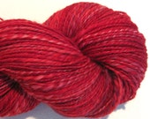 Handspun yarn Candy Apple worsted weight  2 ply, 364 yards hand dyed BFL wool red yarn knitting supplies crochet supplies