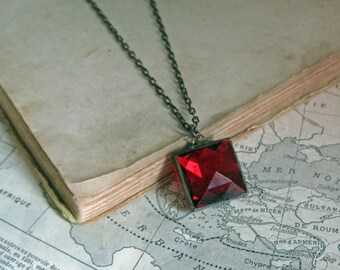 Square-ly Red Faceted Glass Pendant Stained Glass Jewelry