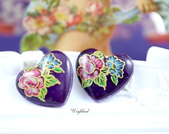 Vintage Heart Shape Flower Glass Cabochons Purple - 4