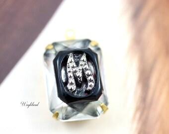 Crystal Clear Black Marcasite Alphabet Monogram Letter M 18x13mm Glass Octagon Set Stones Pendant Connector Brass Settings - 1
