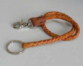 Orange Braid Leather Lanyard Leather Key Ring Leather key Lanyard with Metal Hook and Key Ring