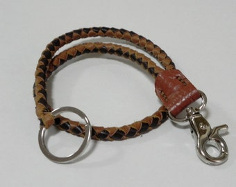Two Tone Brown Braid Leather Lanyard Leather Key Ring Leather key Lanyard with Metal Hook and Key Ring