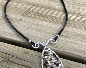 Aluminum, Wire Wrapped, Silver, Brown, Black, Beaded, Allergy Free, Nickel Free, Leather, Pendant Necklace