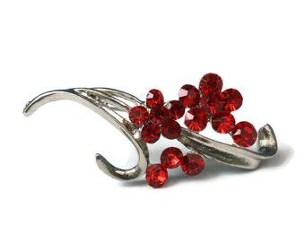 Red Rhinestone Flower Brooch Pin Vintage