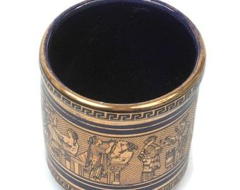 Greek Ceramic Display Cup 24K Gold Classical Design Vintage