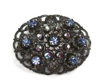Rhinestone Filigree Brooch Pink AB and Blue Stones Signed Germany Vintage