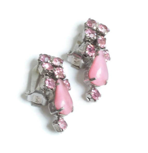 Pink Rhinestone Earrings Dangle Clip On Vintage