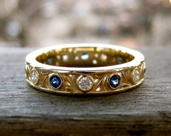 Blue Sapphire & Diamond Wedding Ring in 14K Yellow Gold with Vintage Inspired Scroll Pattern Size 7