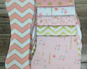 Burp Cloths Girl Burp Cloths Baby Shower Gift Baby Gift Burp Clothes Pink Burp Cloths Floral Burp Cloths Burp Cloth Set Baby Burp Cloths