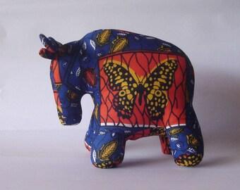Wildebeest Gnu African wax fabric blue orange butterfly Stuffed Standing Plush toy animal handmade