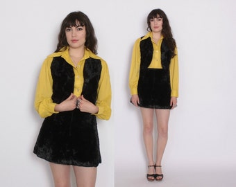 Reserved // Vintage 70s VEST & SKIRT Set / 1970s Velvety Black Faux Fur Matching Waistcoat and Mini Skirt Outfit XS