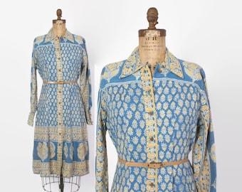 Vintage 70s INDIA Cotton DRESS / 1970s Blue Floral Indian Cotton Block Print Dress