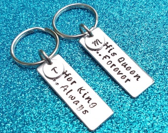 Couples Keychains, Her King His Queen Forever, His & Hers Keychains, Always Forever,  Couples Gift, Engagement Gift, Husband Anniversary