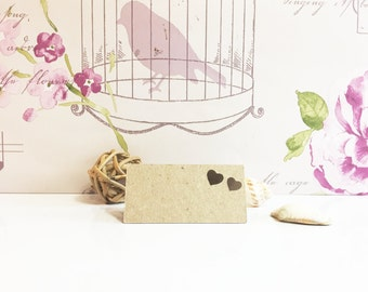 Heart Wedding Place Cards -  rustic cutout design - recycled kraft card - guest seating cards - square corners