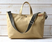 Sand canvas tote bag, Carry all,Messenger bag, Work bag, Leather straps, Travel bag, Zipper and 2 Pockets