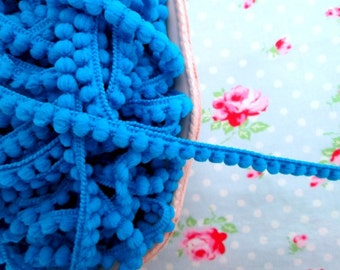 Baby Pom Pom Trim - Deep Turquoise - 1/4 inch Ball Fringe - 3 Yards