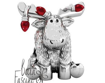 Christmas Moose Red String of Lights Sterling Silver European Bead Charm - Fits Pandora and All Compatible Bracelets - BELLA FASCINI®  F-04