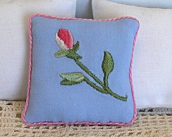 1:12 Pillow - English Rose - Embroidered Scale Miniature Dollhouse - Romantic Shabby Cottage **Free Shipping**