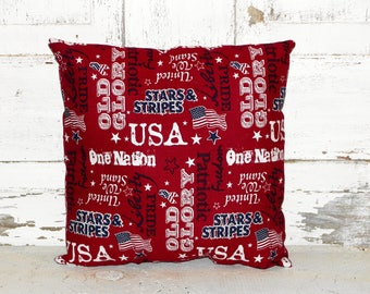 Primitive Americana Accent Pillow-Old Glory-Liberty-USA-Independence Day-4th of July-God Bless America~Primitive Americana Home decor