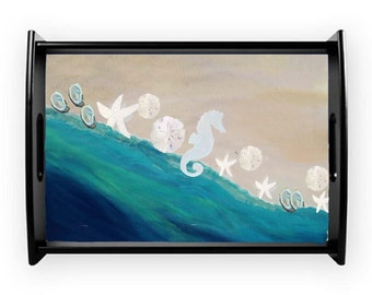 Seashells by the shore beach coastal serving tray from my art, available in 2 sizes