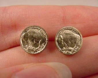miniature Buffalo head Nickel 20th century mini token coin stud pierced Earrings  EE-752