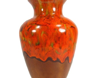 Vintage CALIFORNIA ORIGINALS Vase Orange Brown Art Pottery Mid Century Modern