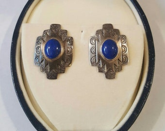 Vintage Sterling Silver Lapis Lazuli Navajo Concho Cross Post Earrings by LEX ~ Susan G Komen Foundation