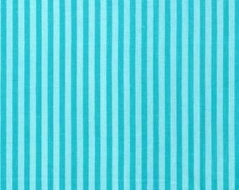 Michael Miller Fabric Little Stripe in Turquoise, Choose your cut