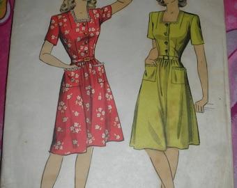 Vintage Du Barry  Sewing Pattern -  One Piece Dress Pattern - 1940s - # 6095