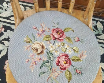 Vintage Petit Point Floral Chair Pad from Rustysecrets