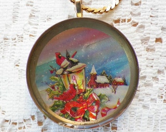 Vintage Button Winter / Snow Scene Recycled / Upcycled Pendant / Necklace, Cardinal, Church, Lantern Scene, Christmas