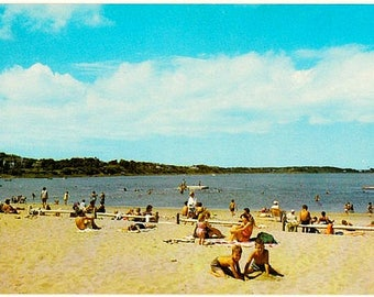 Vintage Cape Cod Postcard - Beachgoers at Oyster Pond Beach, Chatham (Unused)